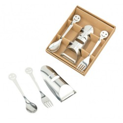 Set cucchiaino, forchettina e pelapatate smile in metallo con scatola. Forch CM 14