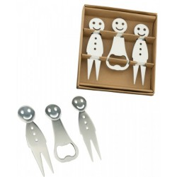 Set 2 forchettine con apribottiglie smile in metallo con scatola. Forch CM 9.5