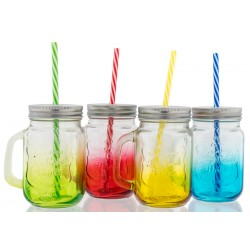 Boccale vetro colorato con tappo e cannuccia. Ass 4. H 13