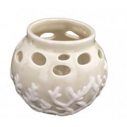 Lanterna ceramica traforata decori marinari con manico.