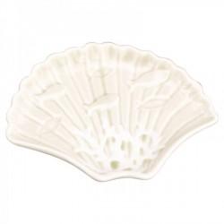 Piatto ceramica forma conchiglia con decori marinari  15X11