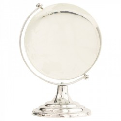 Globo in vetro con base plastica color argento. H 12