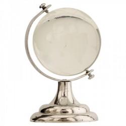Globo in vetro con base plastica color argento. H 9