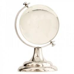 Globo in vetro con base plastica color argento. H 8.5