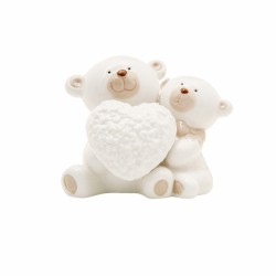Coppia orsi ceramica bicolor con cuore. CM 9x6 H 8