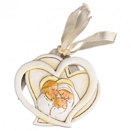 Appendino doppio cuore in resina con sacra famiglia. CM 6