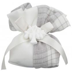 Sacchetto doppio tessuto tartan con applicazione gesso albero. CM 14x10