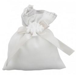 Sacchetto doppio tessuto tartan con applicazione gesso albero. CM 11x14.5