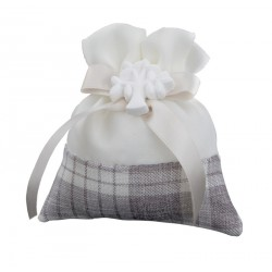 Sacchetto doppio tessuto tartan con applicazione gesso albero. CM 9x10