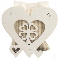 Scatolina cuore legno con sacchettino tessuto interno.