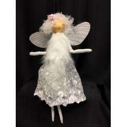 Fata bianca tessuto da appendere con ali e abito ricamato. CM 40