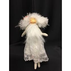 Fata bianca tessuto da appendere con ali e abito ricamato. CM 25