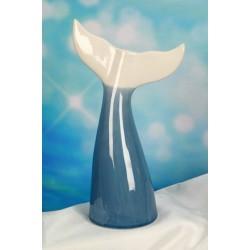 Vaso ceramica forma coda delfino con scatola. H 28