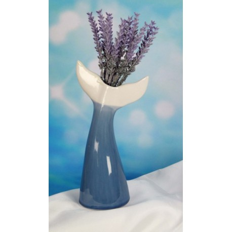 Vaso ceramica forma coda delfino con scatola. H 21