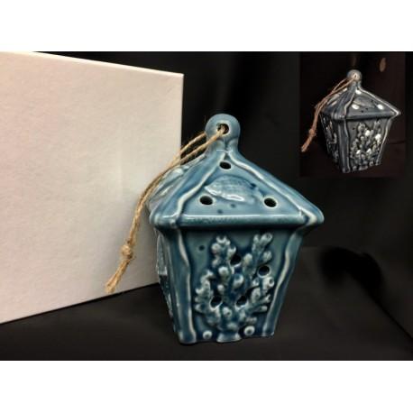 Lanterna ceramica decori marinari con luce LED e scatola. H 11