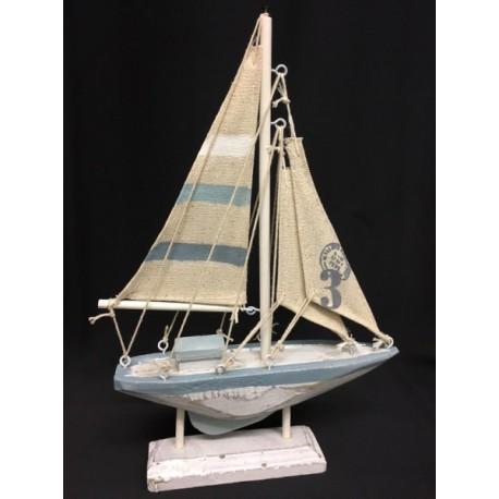 Barca con piedistallo in legno e vela tessuto. H 22.5