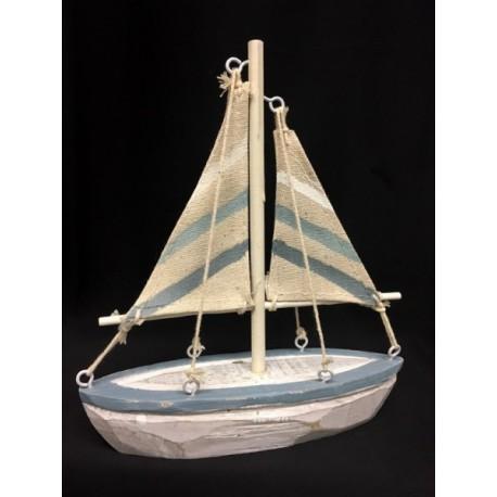 Barca con piedistallo in legno e vela tessuto. H 17