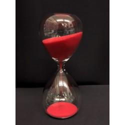 Clessidra vetro con sabbia rossa. Durata 3 minuti. CM 10