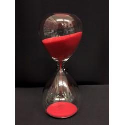 Clessidra vetro con sabbia rossa. Durata 5 minuti. CM 13