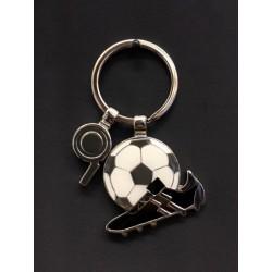 Portachiavi metallo scarpa calcio e pallone con charms fischietto. CM tot 7.5