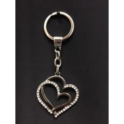 Portachiavi metallo doppio cuore con strass. CM tot 10.5