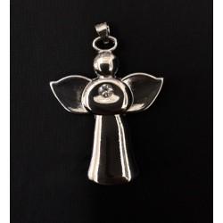 Ciondolo angelo metallo con strass. CM 4
