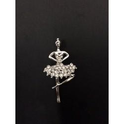 Ciondolo ballerina metallo strass. CM 4