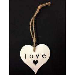 Cuore legno bianco con scritta LOVE. CM tot 14