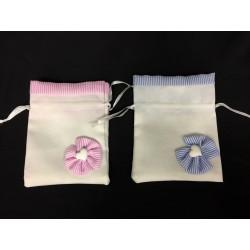 Sacchetto tessuto con applicazione e bordo millerighe baby. CM 9x11