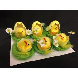 Set 6 pulcini ciniglia nell'uovo su nido paglietta. Diam. 5.5 H 5