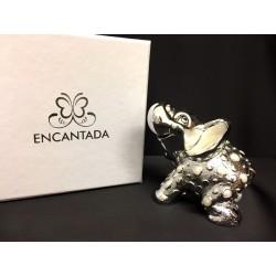 Elefante in resina argentata con scatola. CM 7