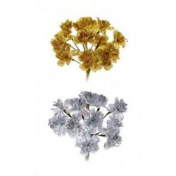 Mazzo 6 fiore oro e argento lurex. Diam. 3.4