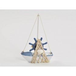 Barca legno con dettagli corda. H 17