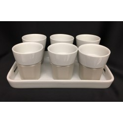 Set 6 bicchierini ceramica con silicone e vassoio ceramica bianco. CM 20x13