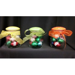 Barattolo vetro con tappo ceramica pois, completo di 12 ovetti cioccolato al latte e fiocco. Ass 3 H 10.5