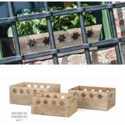 Set 3 cassette legno con traforo fiore. CM 35x26 H 15-CM 32x23 H 14-CM 29x20 H 13
