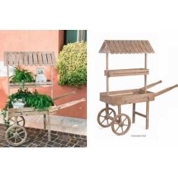Carretto in legno con doppio ripiano e tettoia. CM 126x50 H 150