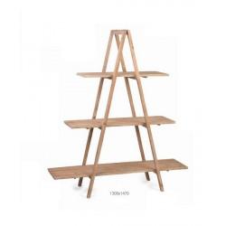 Espositore legno a piramide con 3 ripiani. CM 130x147