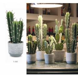 Cactus artificiale con vaso ceramica. H 36