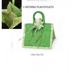 Borsetta verde con manico, riverstimento plastificato all'interno. CM 19x19 H 16.5