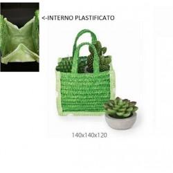 Borsetta verde con manico, riverstimento plastificato all'interno. CM 14x14 H 12
