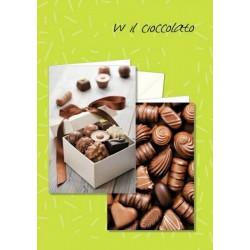 Biglietti neutri con immagine cioccolatini. Ass 2. CM 12x17