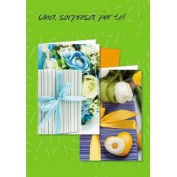 Biglietti neutri con immagine pacco regalo e fiori. Ass 2. CM 12x17