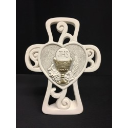 Croce in resina con decoro traforo e immagine comunione. CM 9