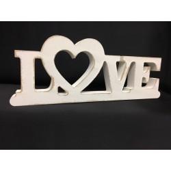 """Scritta legno bianca """"LOVE"""". CM 26 H 10"""