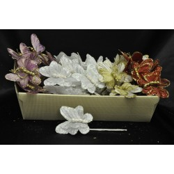 Farfalla glitter con ramo tot CM 18 Colori: LILLA-ROSSO