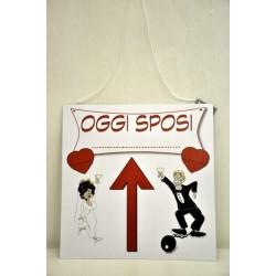 Cartello spiritoso per il matrimonio in cartoncino CM 35x35