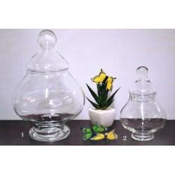 Potiche vetro trasparente con coperchio h.25 (1)