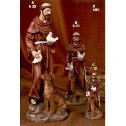 Statua resina San Francesco con lupo H. 50