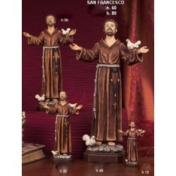 Statua resina San Francesco con colombe H.12